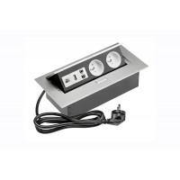 Удлинитель GTV 2 розетки FRENCH USB аудио интернет-выход провод 1,5м с вилкой Алюминий