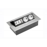 Удлинитель GTV 2 розетки SCHUKO USB аудио интернет-выход Алюминий